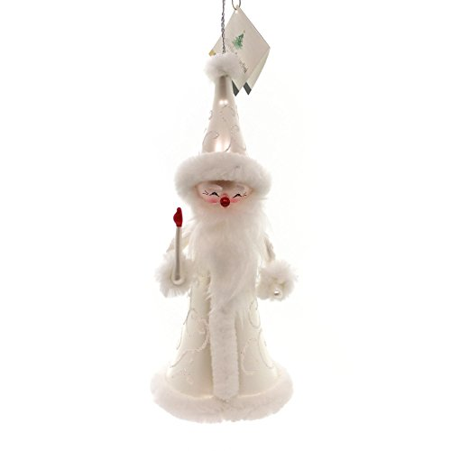 De Carlini SANTA WITH CANDLE Mouth Blown Glass Christmas Ornament Italy BN442