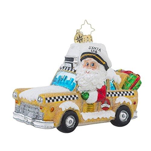 Christopher Radko Holiday on Broadway New York Themed Yellow Cab Glass Christmas Ornament – 4.75″h.