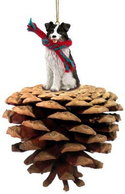 Border Collie Real Pinecone Dog Christmas Ornament by Conversation Concepts