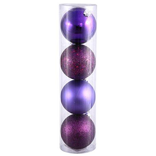 Vickerman 351123 – 6″ Plum Ball Christmas Tree Ornaments (4 pack) (N591526DA)