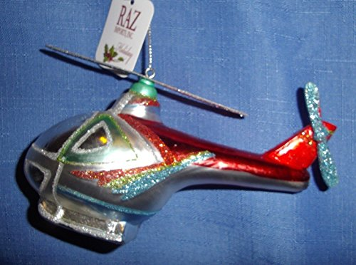 RAZ Imports Helicopter Christmas Ornament -Hand-Painted & Decorated Blown Glass