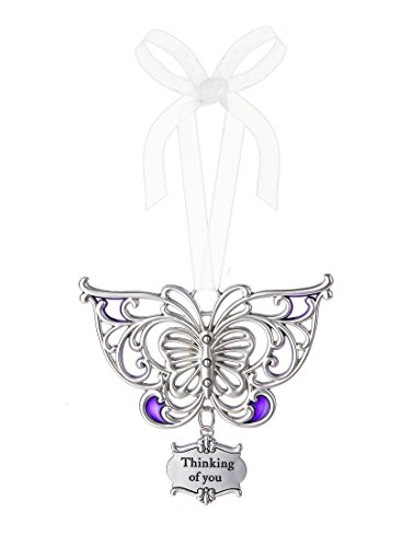 Ganz 3″ Beautiful Zinc Butterfly Ornament with Heartfelt Message Featuring White Organza Ribbon for Hanging (Thinking of You)
