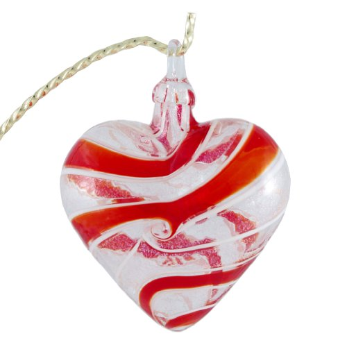 Glass Eye Studio Hand Blown Glass Heart Ornament – Red Spin
