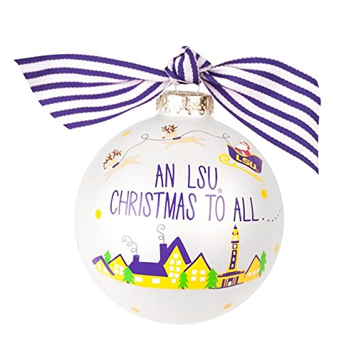 Coton Colors LSU Fan Glass Ornament