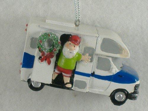 3.25″ Summer Santa Waving Hello from his RV Christmas Ornament