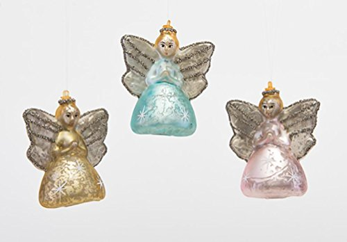 180 Degrees Mercury Glass Christmas Tree Angel Ornaments, Set of 3