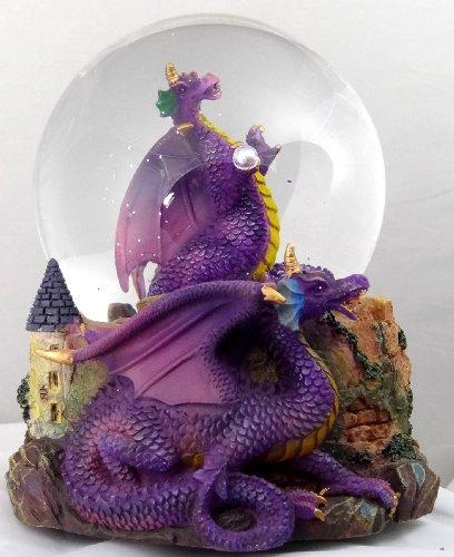 Purple Dragon Clutching Crystal with Castle Snow Globe – Sculptured Resin Water Ball Music Box 5 3/4″ High