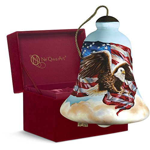 "Ne'Qwa Art, Patriotic Gifts, ""Liberty Eagle"" Artist Dona Gelsinger, Bell-Shaped Glass Ornament, #7161111"
