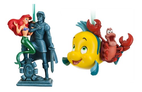 Disney Store The Little Mermaid Sketchbook Ornament Set: Ariel with Prince Eric Statue and Flounder with Sebastian