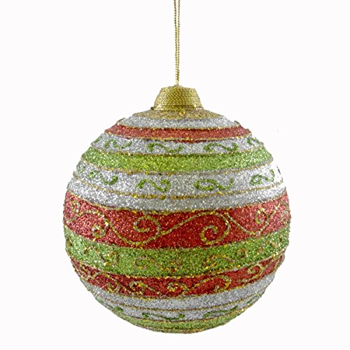 Holiday Ornament GLITTER DESIGNER STRIPED BALL Christmas Jim Marvin B1611C