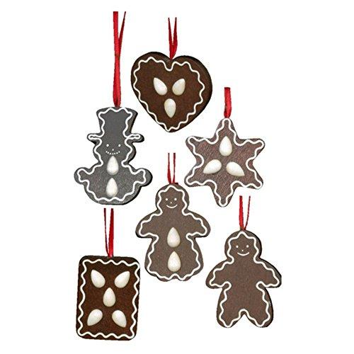 """10-0362 – Christian Ulbricht Ornament – Assorted Gingerbread Cookies – set 6 – 2.5″""""H x 2″""""W x .75″""""D"""
