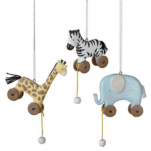 Set of 3 Baby Animal Pull Toy Resin Ornaments – Elephant, Giraffe, Zebra