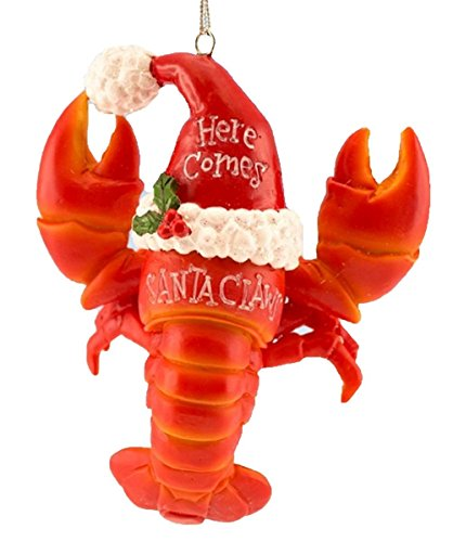Lobster Christmas Ornament Wearing a Santa Hat, Here Comes Santa Claws