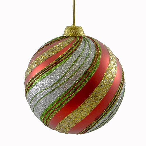 Holiday Ornament GLITTER SWIRL STRIPED BALL Christmas Jim Marvin B1611B