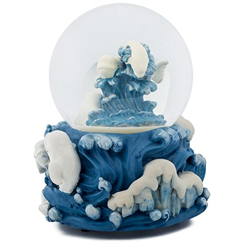 White Beluga Whale Ocean 100MM Music Water Globe Plays Tune Somewhere In Time