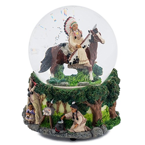 Native American Chief 100MM Music Water Globe Plays Tune Free As The Wind