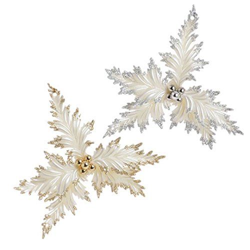 RAZ Imports – Gold and Silver White Holly Christmas Tree Ornaments – Set of 2