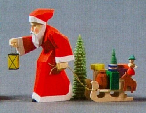 Carved Santa with Sleigh German Wood Miniature