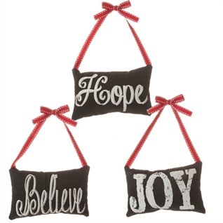 """""""Believe"""", """"Hope"""", and """"Joy"""" Pillow Ornaments – Set of 3"""