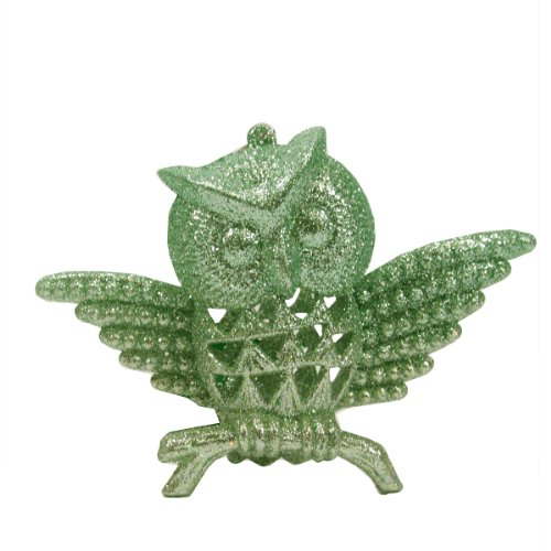 3.75″ Silent Luxury Pastel Green Glittered Owl Christmas Ornament