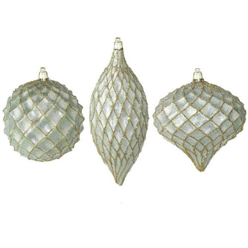 RAZ Imports – Sage Green with Gold Glitter Lattice Ornaments – Set of 3