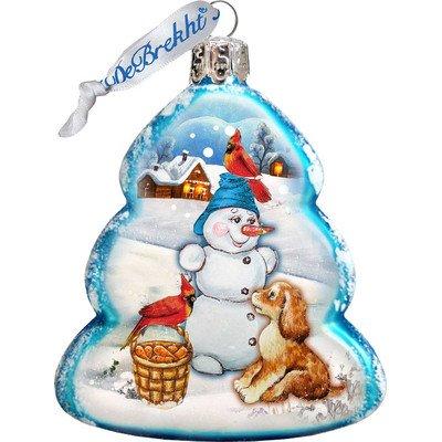 G. Debrekht Building A Snowman Glass Ornament