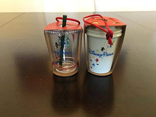 2 Ornament Set: Disney Ceramic And Clear Cup Tumbler Starbucks Ornaments W/ Bonus Blank Starbucks Card