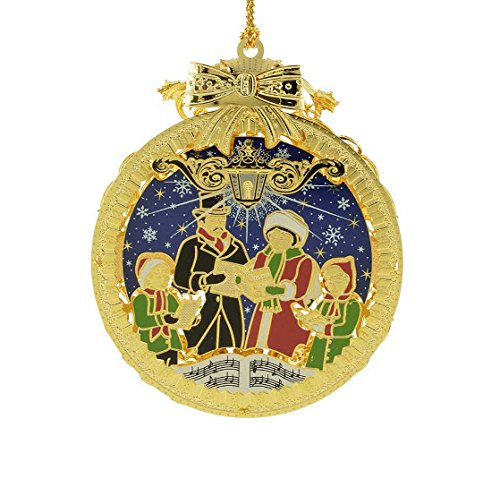 New 24KT Gold Finished 3D Christmas Carolers Tree Ornament