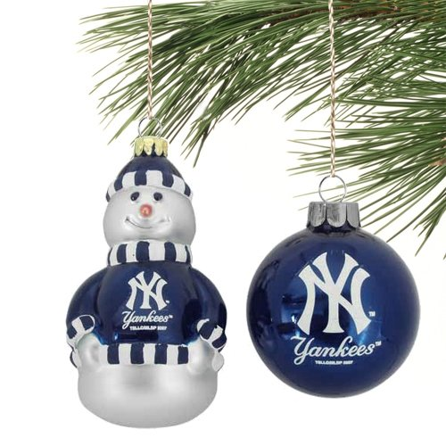MLB New York Yankees Blown Glass Snowman & Ball Christmas Ornament Set