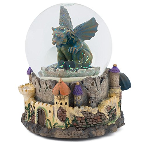 Gargoyle Guarding Medieval Castle 100MM Music Water Globe Plays Tune One Enchanted Evening