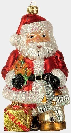 Santa in Holland Polish Glass Christmas Ornament Made in Poland Decoration