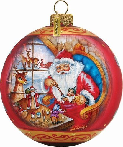 Santa Workshop Ball Ornament by G. Debrekht