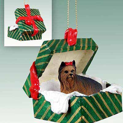 Conversation Concepts Yorkshire Terrier Gift Box Green Ornament