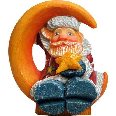 G. Debrekht Santa on Moon Figurine Ornament