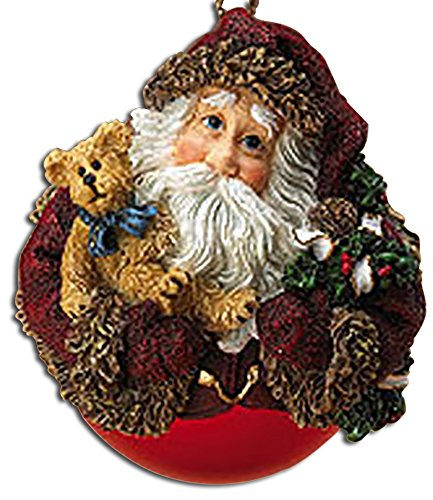 Boyds Woodland Santa Shimmering Red Glass Ball Ornament