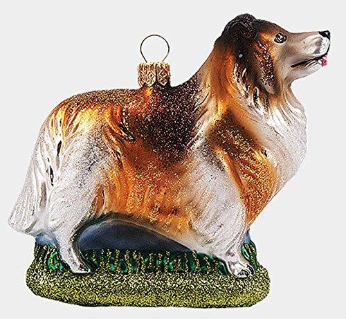 Collie Herding Dog Polish Mouth Blown Glass Christmas Ornament Decoration