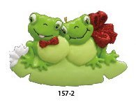 Personalized Frog Couple On Lily Pad Ornament by Rudolph and Me Ornaments