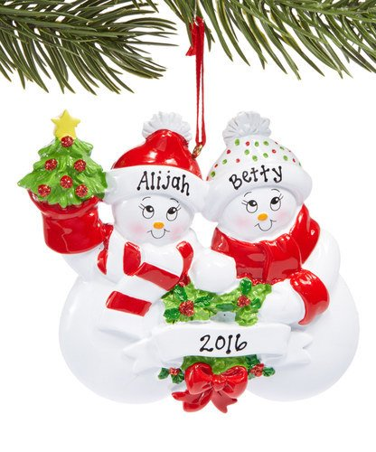Snowman Smiles Family of 2 Personalized Christmas Tree Ornament