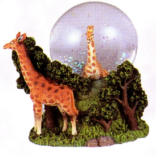 Sculptured Giraffe Family with Young – Snow Globe and Paper Weight – Home Decor Made of Detailed Resin 2 3/4″ High