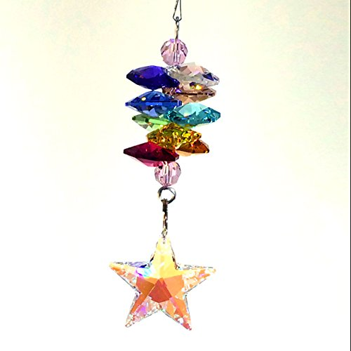 Mini Diva 3″ Crystal Ornament mw Swarovski crystal, Aurora Bolialis Faceted Star Prism & Colorful Cascade, Strass Laser Engraved, Amazing Sparkling Sun Catcher, Rainbow Maker with Certificate