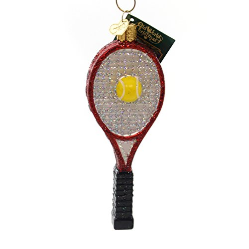 Old World Christmas TENNIS RACQUET Glass Ornament Ball Sport Game 44088 Red