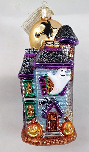 HAUNTED HOUSE with GHOST & MOON Halloween Ornament Old World Christmas