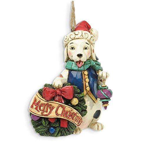Jim Shore for Enesco Heartwood Creek Christmas Dog with Wreath Ornament, 4-Inch