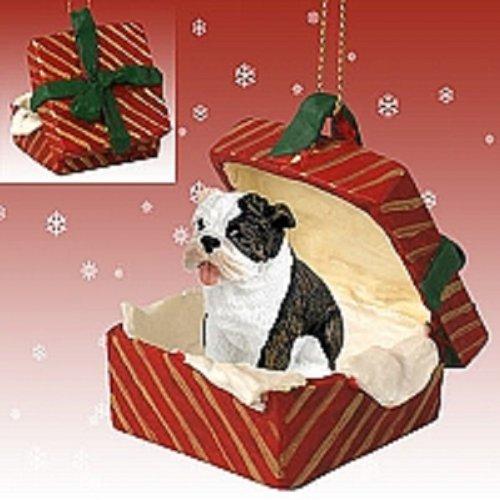 Conversation Concepts Bulldog Brindle Gift Box Red Ornament
