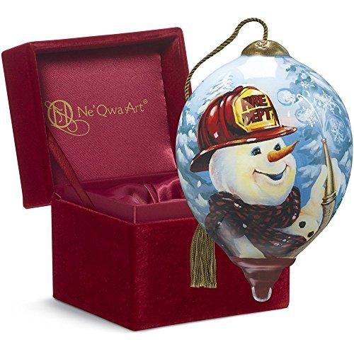 """Ne'Qwa Art, Christmas Gifts, """"Firefighter Snowman"""" Artist Dona Gelsinger, Petite Princess-Shaped Glass Ornament, #7161157"""