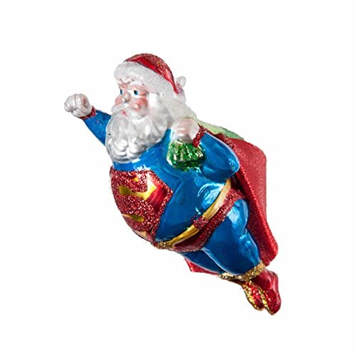 5.5″ Flying Super Santa Hero Whimsical Glass Christmas Ornament