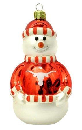 Texas Longhorns Blown Glass Snowman Ornament