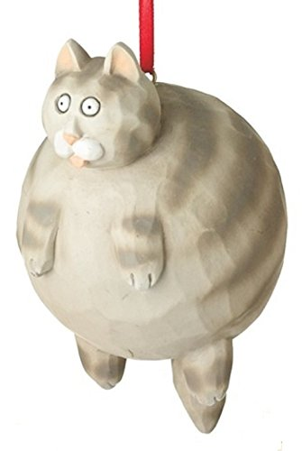 Grey Tabby Fat Cat Christmas Tree Ornament Hanging From The Nap of His Neck by Midwest 4.5 inch Made of Polyresin