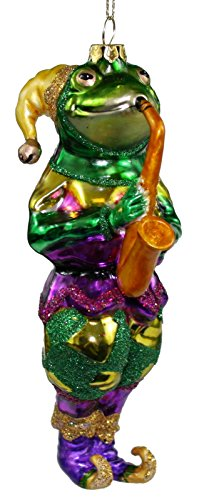 Midwest Mardis-Gras Frog Musician Ornament (Sax)