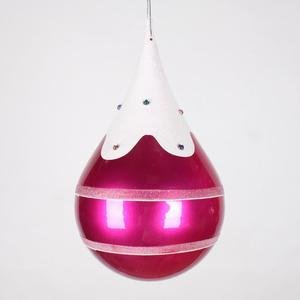 Vickerman 7″ Cerise, Snow, and Jewel Candy Finish Teardrop Christmas Ornament